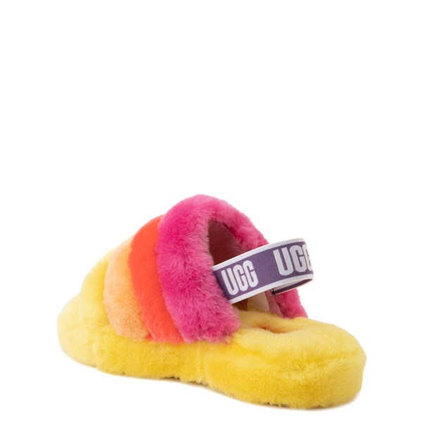 alternate view UGG® Fluff Yeah Slide Sandal - Little Kid / Big Kid - Yellow / RainbowALT2