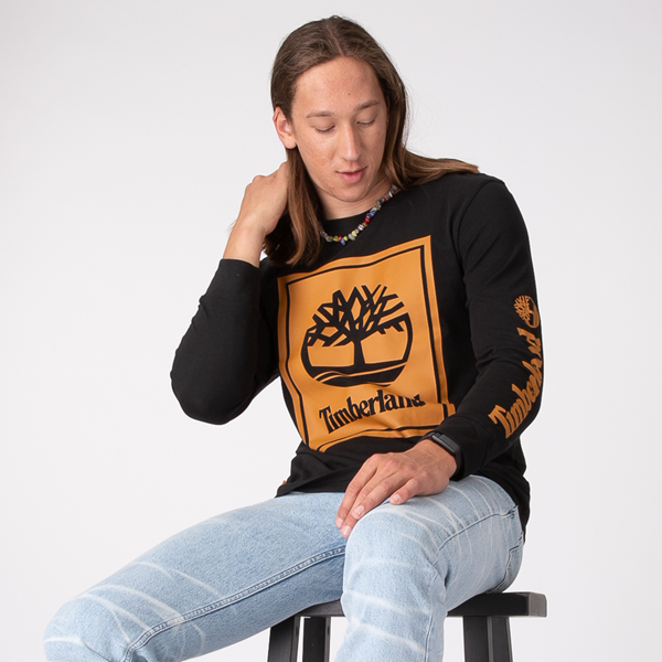 Mens Timberland Stacked Logo Long Sleeve Tee - Black