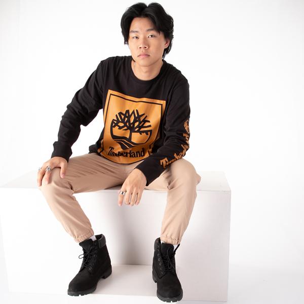 alternate view Mens Timberland Stacked Logo Long Sleeve Tee - BlackALT1