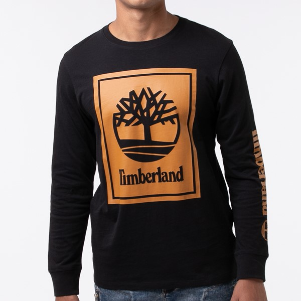 alternate view Mens Timberland Stacked Logo Long Sleeve Tee - BlackALT1B