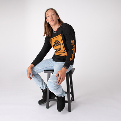 Alternate view of Mens Timberland Stacked Logo Long Sleeve Tee - Black