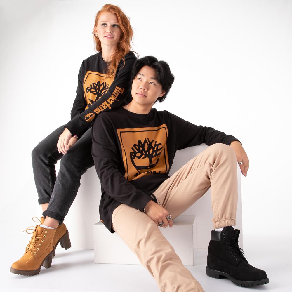 Mens Timberland Stacked Logo Long Sleeve Tee - Black