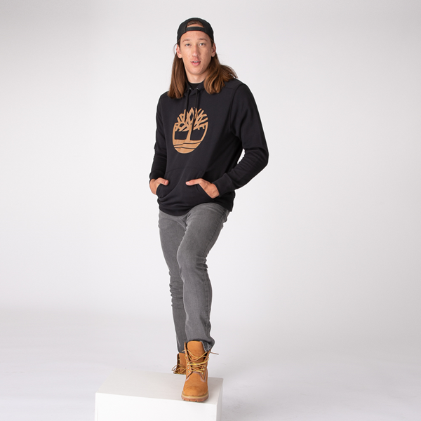 alternate view Mens Timberland Logo Hoodie - BlackALT1