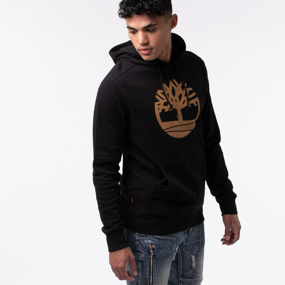 Mens Timberland Logo Hoodie - Black