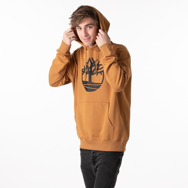 alternate view Mens Timberland Logo Hoodie - WheatALT1