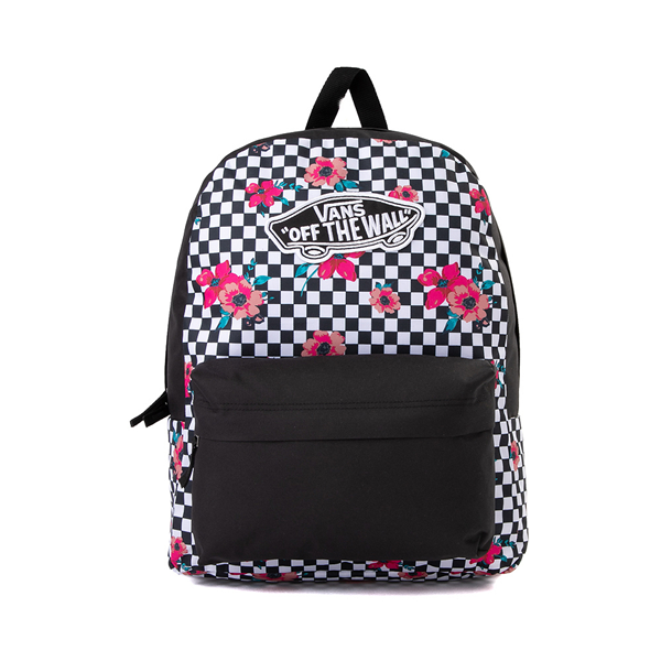 Main view of Vans Botanical Checkerboard Realm Backpack - Black / White