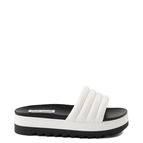 Main view of Womens Steve Madden Lazaro Platform Slide Sandal - White