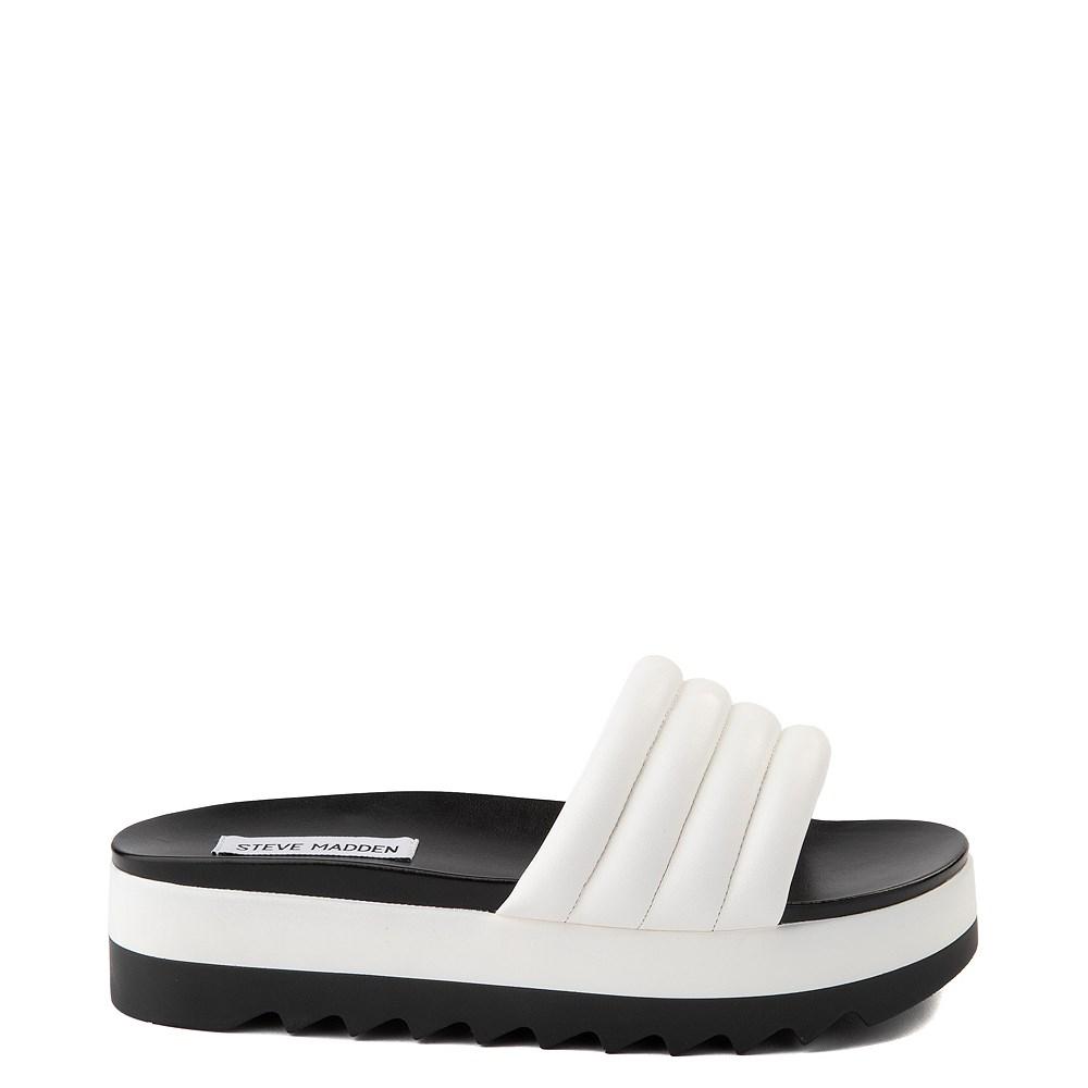 Womens Steve Madden Lazaro Platform Slide Sandal - White