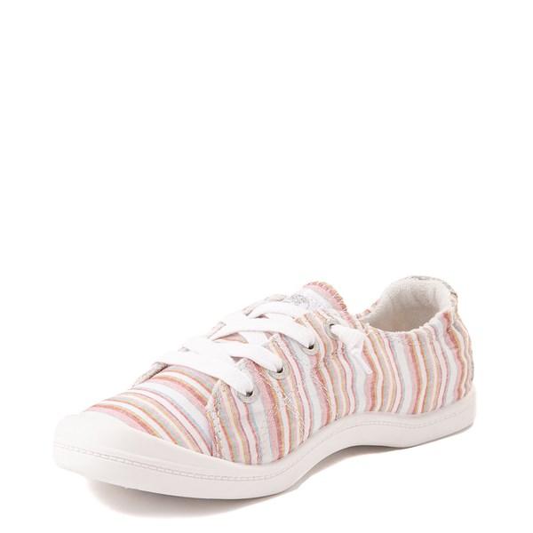 alternate view Womens Roxy Bayshore Casual Shoe - White / Pink StripesALT3