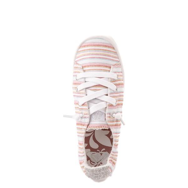 alternate view Womens Roxy Bayshore Casual Shoe - White / Pink StripesALT4B
