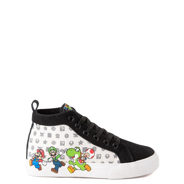 Main view of Mario Power Up High Top Sneaker- Little Kid / Big Kid - Black / White