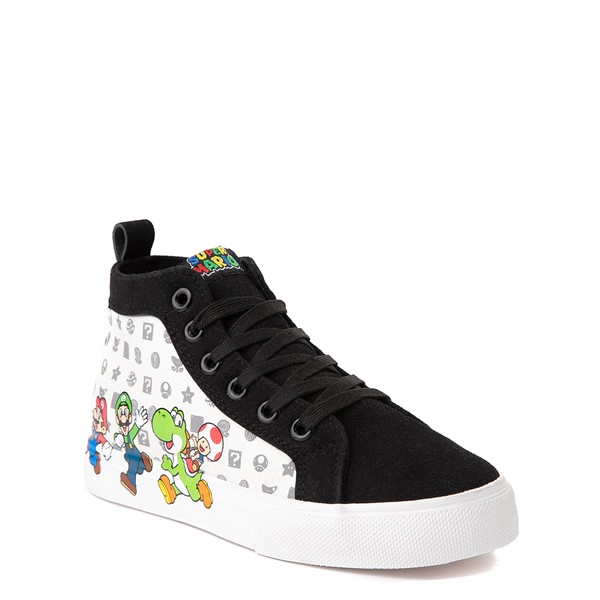 alternate view Super Mario Power-Up Hi Sneaker- Little Kid / Big Kid - Black / WhiteALT5