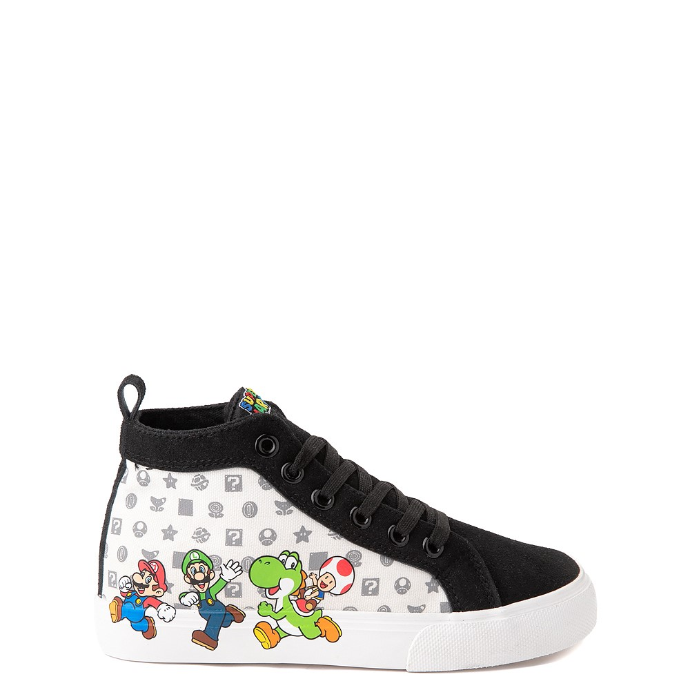 Super Mario Power-Up Hi Sneaker- Little Kid / Big Kid - Black / White