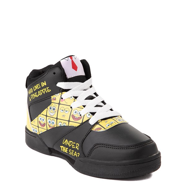 alternate view Ground Up Spongebob Squarepants™ Hi Sneaker - Little Kid / Big Kid - Black / YellowALT5