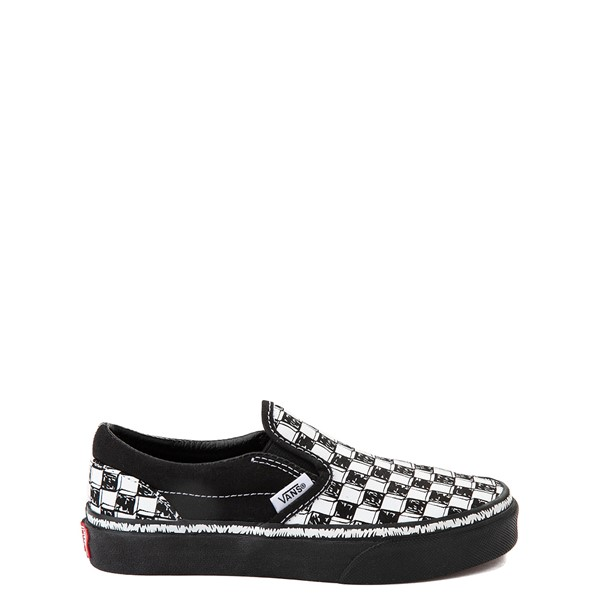 Vans Slip On Sketch Checkerboard Skate Shoe - Little Kid - Black / White