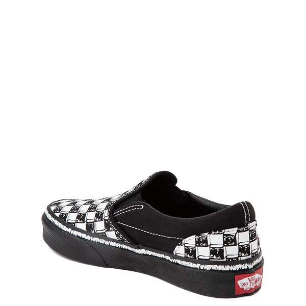 alternate view Vans Slip On Sketch Checkerboard Skate Shoe - Little Kid - Black / WhiteALT1