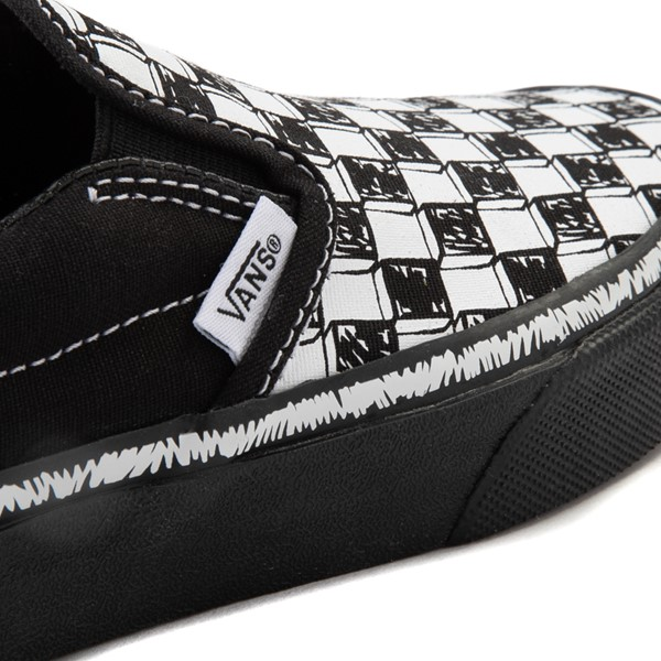 alternate view Vans Slip On Sketch Checkerboard Skate Shoe - Little Kid - Black / WhiteALT2B