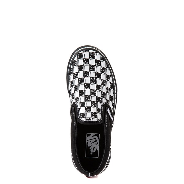 alternate view Vans Slip On Sketch Checkerboard Skate Shoe - Little Kid - Black / WhiteALT4B