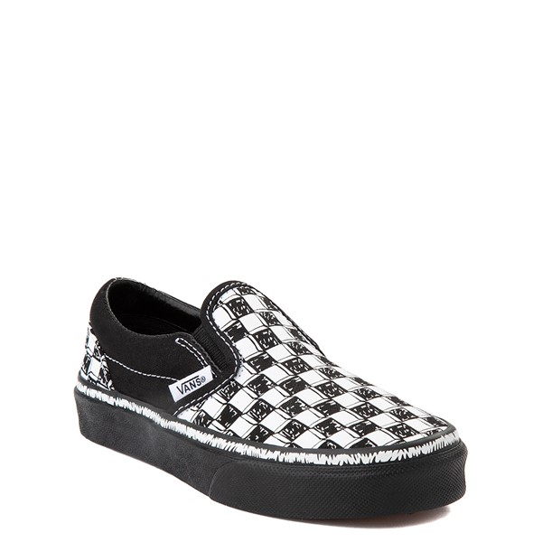 alternate view Vans Slip On Sketch Checkerboard Skate Shoe - Little Kid - Black / WhiteALT5