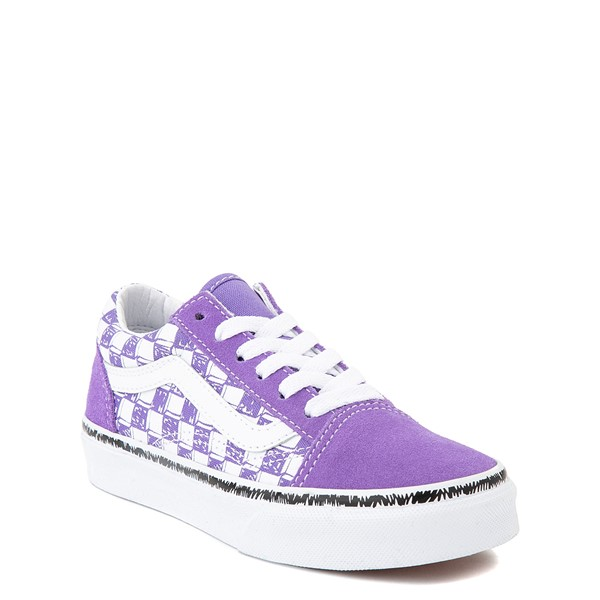 alternate view Vans Old Skool Sketch Checkerboard Skate Shoe - Little Kid - Dahlia PurpleALT5
