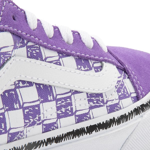 alternate view Vans Old Skool Sketch Checkerboard Skate Shoe - Little Kid - Dahlia PurpleALT6