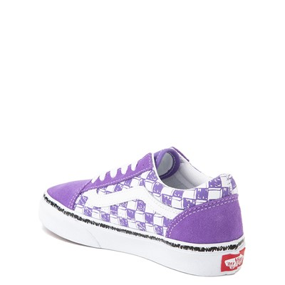 Alternate view of Vans Old Skool Sketch Checkerboard Skate Shoe - Little Kid - Dahlia Purple