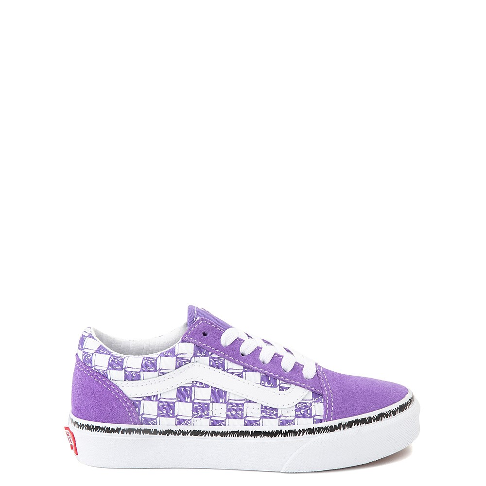 Vans Old Skool Sketch Checkerboard Skate Shoe - Little Kid - Dahlia Purple