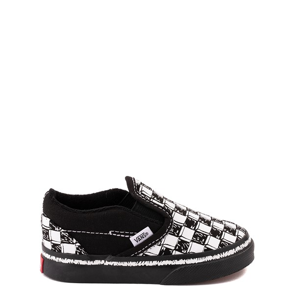 Vans Slip On V Sketch Checkerboard Skate Shoe - Baby / Toddler - Black / White