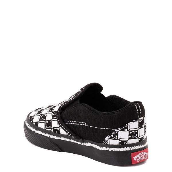 alternate view Vans Slip On V Sketch Checkerboard Skate Shoe - Baby / Toddler - Black / WhiteALT1