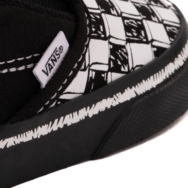 alternate view Vans Slip On V Sketch Checkerboard Skate Shoe - Baby / Toddler - Black / WhiteALT2B