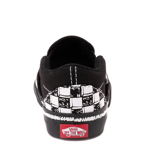 alternate view Vans Slip On V Sketch Checkerboard Skate Shoe - Baby / Toddler - Black / WhiteALT4