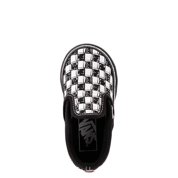 alternate view Vans Slip On V Sketch Checkerboard Skate Shoe - Baby / Toddler - Black / WhiteALT4B