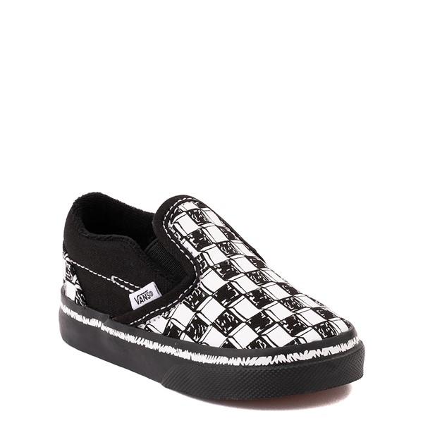 alternate view Vans Slip On V Sketch Checkerboard Skate Shoe - Baby / Toddler - Black / WhiteALT5