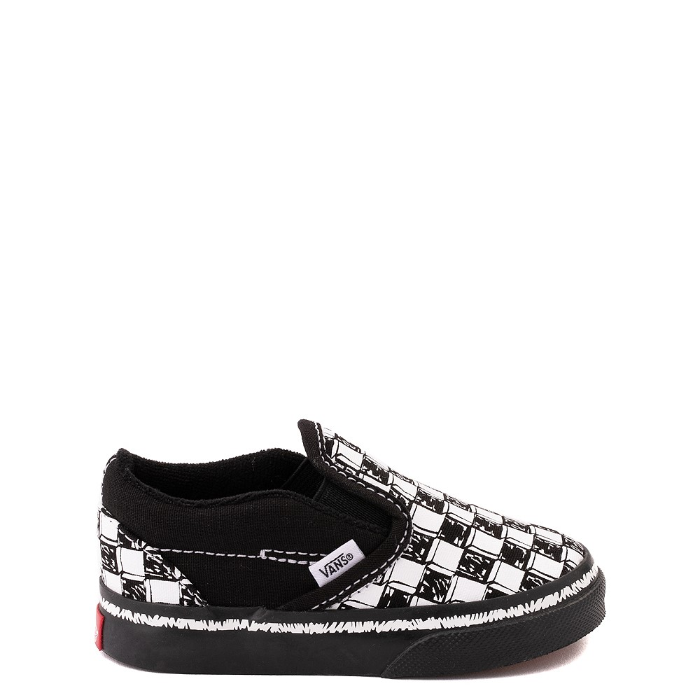 Vans Slip On V Sketch Checkerboard Skate Shoe - Baby / Toddler - Black / White