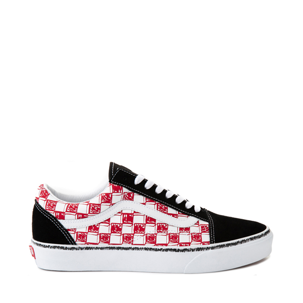 Vans Old Skool Sketch Checkerboard Skate Shoe - Black / Red / White