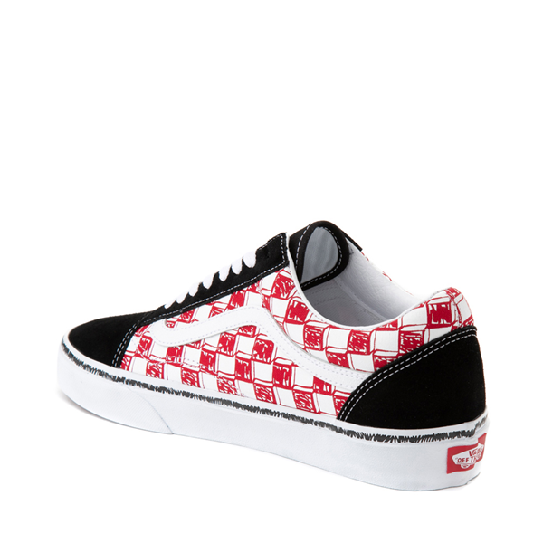 alternate view Vans Old Skool Sketch Checkerboard Skate Shoe - Black / Red / WhiteALT1