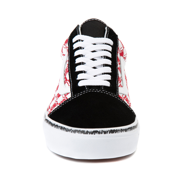 alternate view Vans Old Skool Sketch Checkerboard Skate Shoe - Black / Red / WhiteALT4