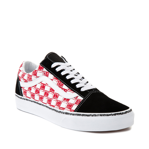 alternate view Vans Old Skool Sketch Checkerboard Skate Shoe - Black / Red / WhiteALT5