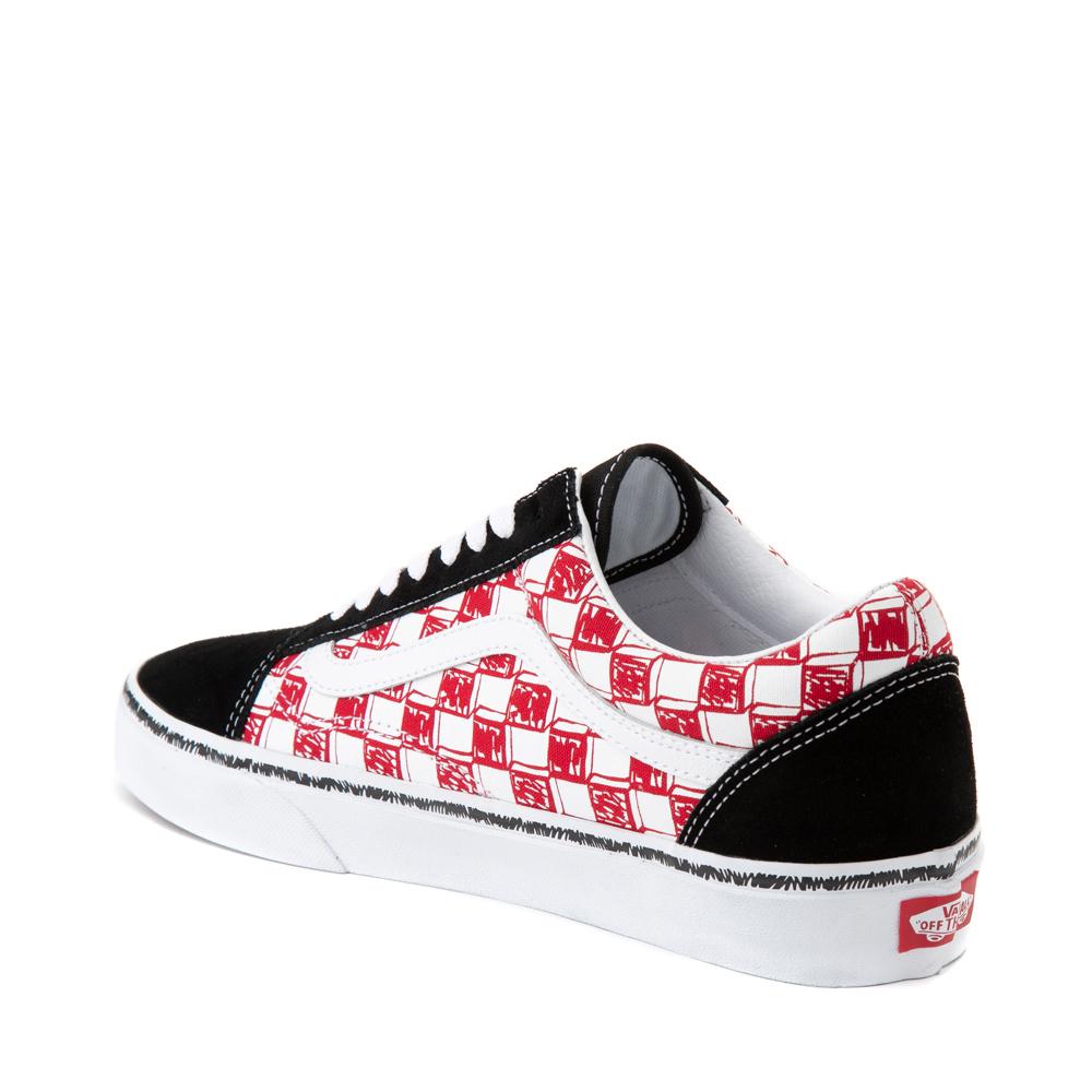 Vans Old Skool Sketch Checkerboard Skate Shoe - Black / Red / White