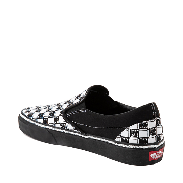 alternate view Vans Slip On Sketch Checkerboard Skate Shoe - Black / WhiteALT1