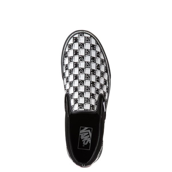 alternate view Vans Slip On Sketch Checkerboard Skate Shoe - Black / WhiteALT4B