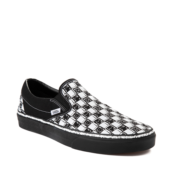 alternate view Vans Slip On Sketch Checkerboard Skate Shoe - Black / WhiteALT5