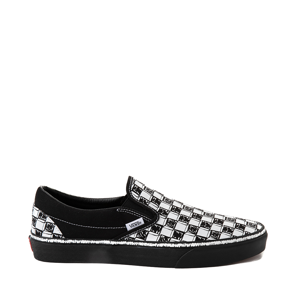 Vans Slip On Sketch Checkerboard Skate Shoe - Black / White