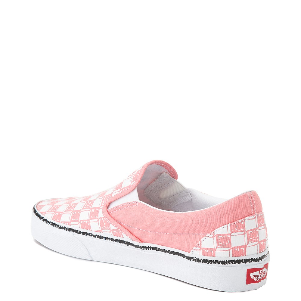 pulgar Soberano Solitario  Vans Slip On Sketch Checkerboard Skate Shoe - Flamingo Pink | Journeys
