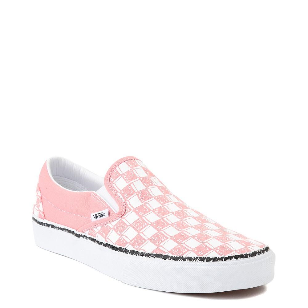 Vans Slip On Sketch Checkerboard Skate Shoe - Flamingo Pink