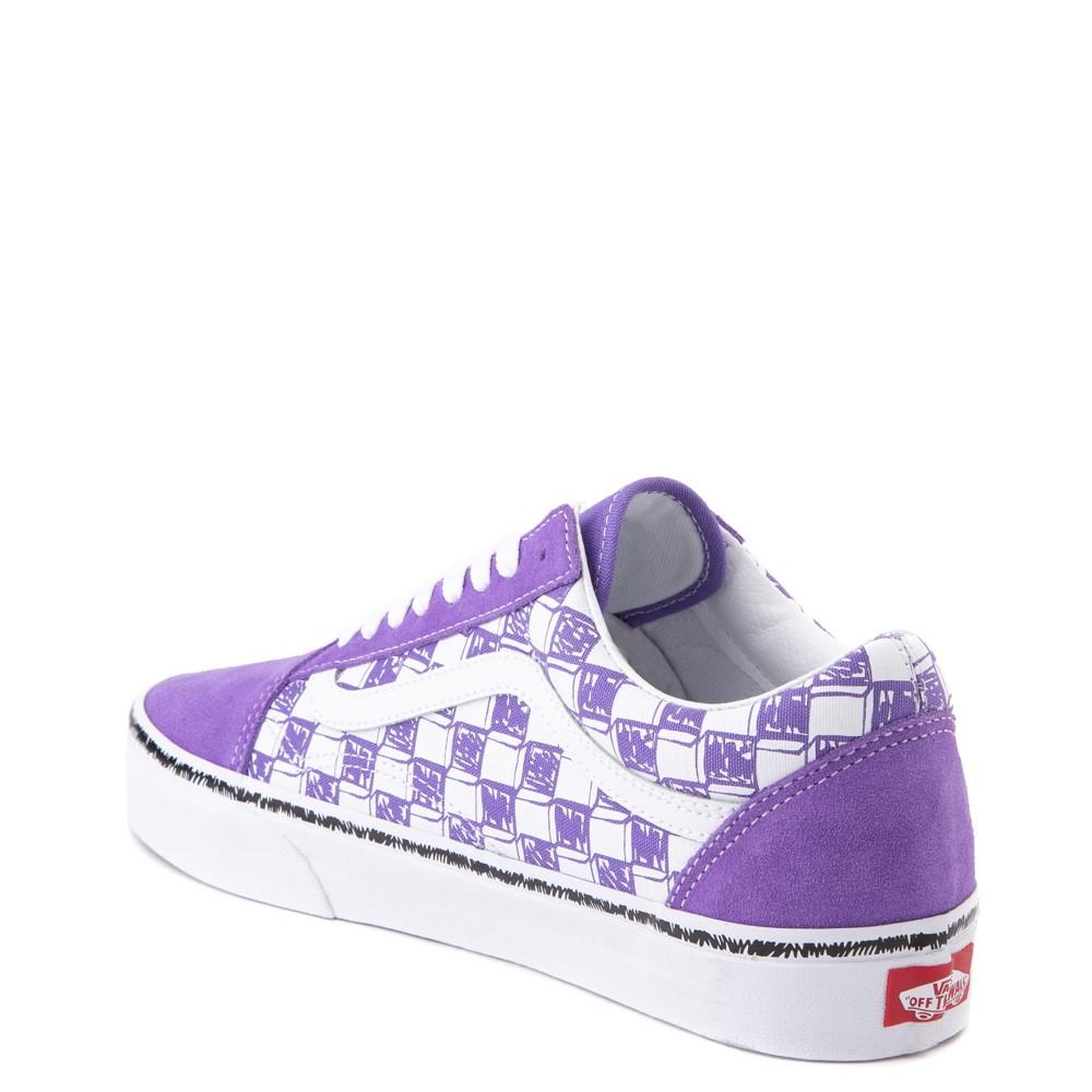 Vans Old Skool Sketch Checkerboard Skate Shoe - Dahlia Purple