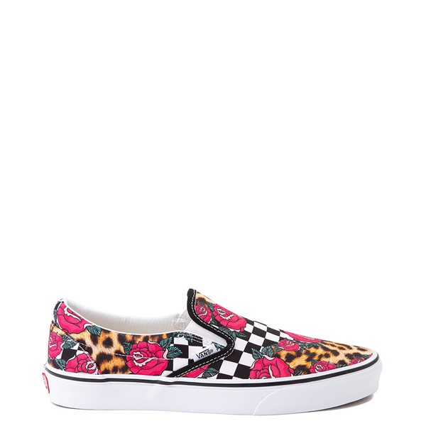 Main view of Vans Slip On Checkerboard Skate Shoe - Rose / Leopard