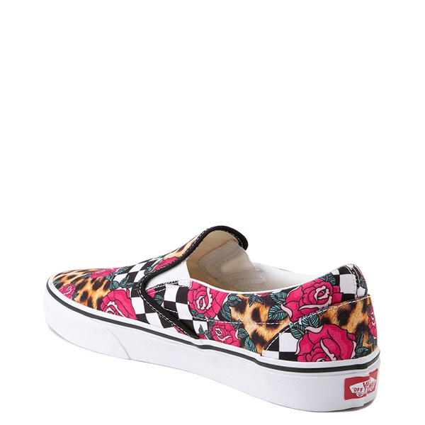 alternate view Vans Slip On Checkerboard Skate Shoe - Rose / LeopardALT1