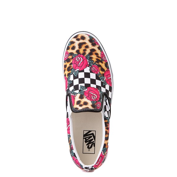 alternate view Vans Slip On Checkerboard Skate Shoe - Rose / LeopardALT2