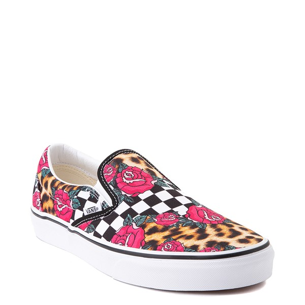 alternate view Vans Slip On Checkerboard Skate Shoe - Rose / LeopardALT5